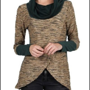 A'reve Anthropologie cowl neck, wrap front sweater